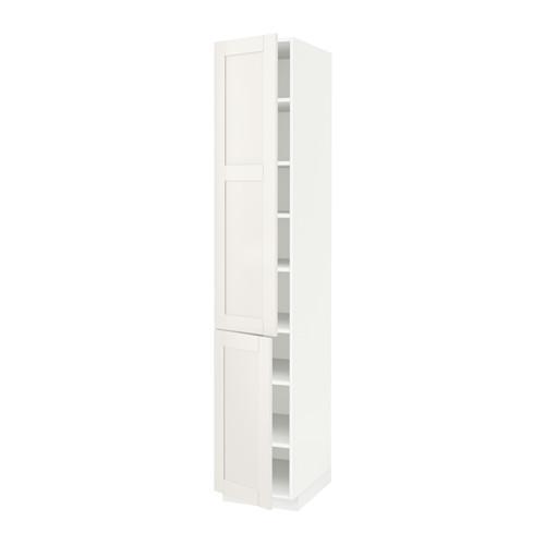 МЕТОД Высокий шкаф с полками/2 дверцы - 40x60x220 см, Сэведаль белый, белый
