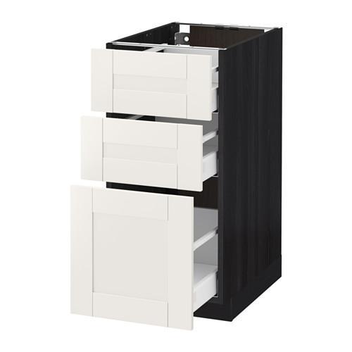 МЕТОД / МАКСИМЕРА Напольный шкаф с 3 ящиками - 40x60 см, Сэведаль белый, под дерево черный