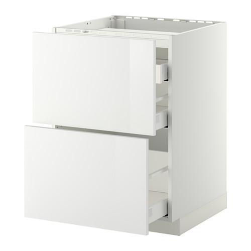МЕТОД / МАКСИМЕРА Напольн шкаф/2 фронт пнл/3 ящика - 60x60 см, Рингульт глянцевый белый, белый