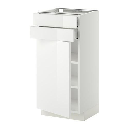 МЕТОД / МАКСИМЕРА Напольный шкаф с дверцей/2 ящиками - 40x37 см, Рингульт глянцевый белый, белый
