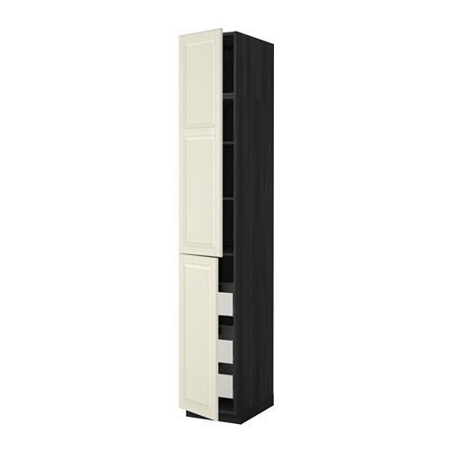 МЕТОД / МАКСИМЕРА Высокий шкаф+полки/3 ящика/2 дверцы - 40x60x240 см, Будбин белый с оттенком, под дерево черный