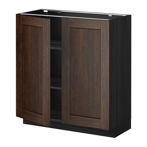 МЕТОД Напол шкаф с полками/2двери - 80x37 см, Эдсерум под дерево коричневый, под дерево черный