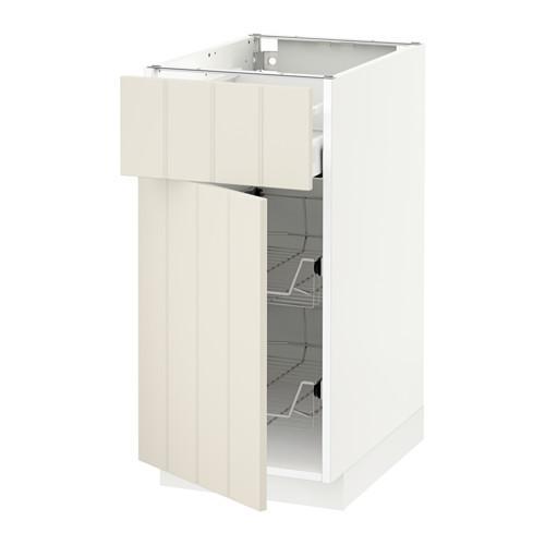 МЕТОД / МАКСИМЕРА Напольн шкаф с пров корз/ящ/дверью - 40x60 см, Хитарп белый с оттенком, белый