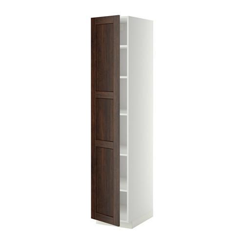 МЕТОД Высок шкаф с полками - 40x60x200 см, Эдсерум под дерево коричневый, белый