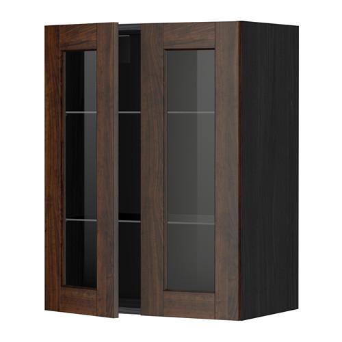 МЕТОД Навесной шкаф с полками/2 стекл дв - 60x80 см, Эдсерум под дерево коричневый, под дерево черный