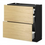 MÉTHODE / FORVARA Nap armoire 2 FRNT PNL / 1nizk / 2sr tiroirs - bois noir, Tingsrid bouleau, 80x37 cm
