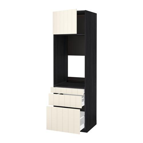 МЕТОД / МАКСИМЕРА Выс шкаф д/двойн духовки/3ящ/дверца - под дерево черный, Хитарп белый с оттенком, 60x60x200 см