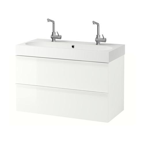 GODMORGON / Bråviken armoire coule avec tiroirs 2 - blanc brillant
