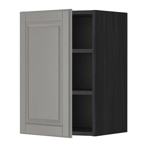 МЕТОД Шкаф навесной с полкой - 40x60 см, Будбин серый, под дерево черный