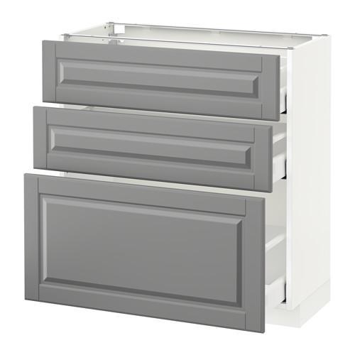 МЕТОД / МАКСИМЕРА Напольный шкаф с 3 ящиками - 80x37 см, Будбин серый, белый