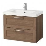 GODMORGON / ODENSVIK cabinet sinks with 2 drawers - walnut