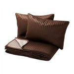 КАРИТ Покрывало и 2 чехла на подушку - коричневый, 260x280/40x60 см