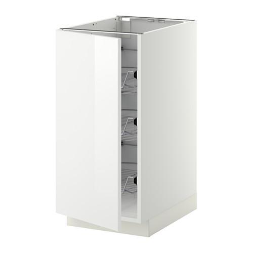 МЕТОД Напольный шкаф с проволочн ящиками - 40x60 см, Рингульт глянцевый белый, белый