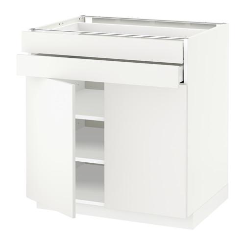 МЕТОД / МАКСИМЕРА Напольный шкаф/2дверцы/2ящика - 80x60 см, Хэггеби белый, белый