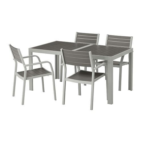 Ikea Eettafel 4 Stoelen.Shelland Tafel 4 Stoelen D Tuin Shelland Donkergrijs