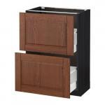 МЕТОД / МАКСИМЕРА Напольный шкаф с 2 ящиками - 60x37 см, Филипстад коричневый, под дерево черный
