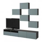 БЕСТО Шкаф для ТВ, комбинация - черно-коричневый/Вальвикен серо-бирюзовый, направляющие ящика, плавно закр