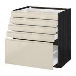 МЕТОД / МАКСИМЕРА Напольный шкаф с 5 ящиками - под дерево черный, Воксторп глянцевый светло-бежевый, 80x60 см