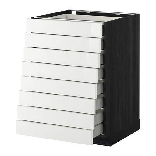 МЕТОД / МАКСИМЕРА Наполн шкаф 8 фронт/8 низк ящиков - под дерево черный, Рингульт глянцевый белый, 60x60 см