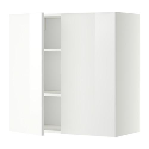 МЕТОД Навесной шкаф с полками/2дверцы - 80x80 см, Рингульт глянцевый белый, белый