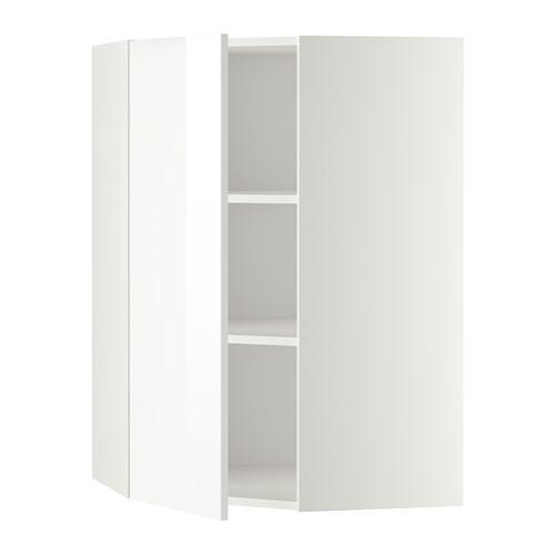 МЕТОД Угловой навесной шкаф с полками - 68x100 см, Рингульт глянцевый белый, белый