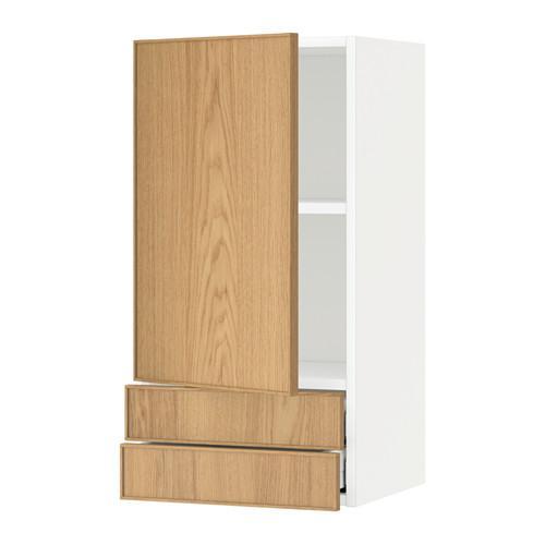 МЕТОД / МАКСИМЕРА Навесной шкаф с дверцей/2 ящика - 40x80 см, Экестад дуб, белый