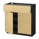 МЕТОД / МАКСИМЕРА Напольный шкаф+ящик/2дверцы - 80x37 см, Тингсрид под березу, под дерево черный