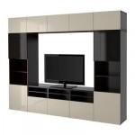 БЕСТО Шкаф для ТВ, комбин/стеклян дверцы - черно-коричневый/Сельсвикен глянцевый/бежевый/дымчатое стекло, направляющие ящика, плавно закр