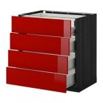 МЕТОД / МАКСИМЕРА Нплн шк 4фрнт/2нзк/3срд ящ - 80x60 см, Рингульт глянцевый красный, под дерево черный