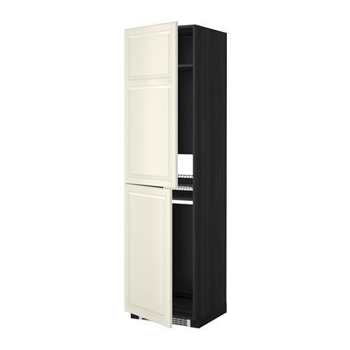 МЕТОД Высок шкаф д холодильн/мороз - 60x60x220 см, Будбин белый с оттенком, под дерево черный