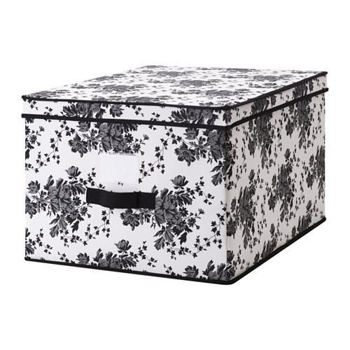 ГАРНИТУР Коробка с крышкой - черный/белый цветок, 42x56x32 см