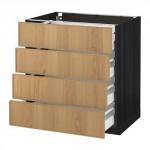МЕТОД / МАКСИМЕРА Напольн шкаф 4 фронт панели/4 ящика - под дерево черный, Экестад дуб, 80x60 см