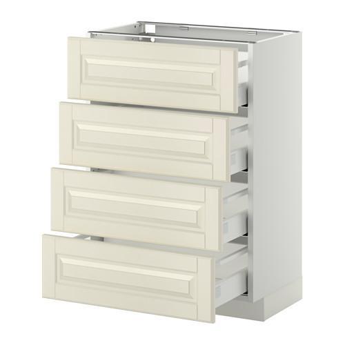 МЕТОД / МАКСИМЕРА Напольн шкаф 4 фронт панели/4 ящика - 60x37 см, Будбин белый с оттенком, белый