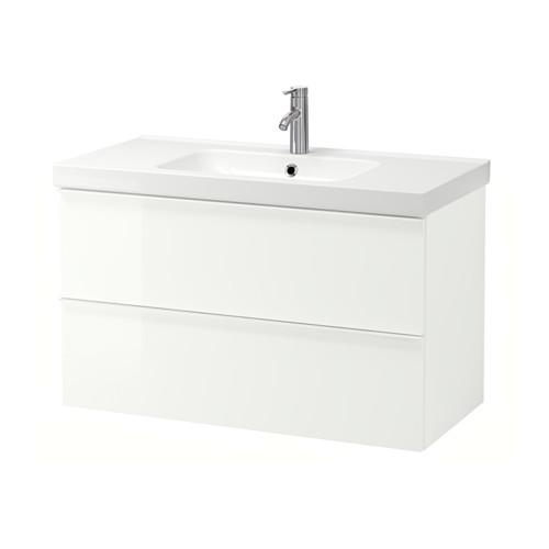 GODMORGON / ODENSVIK Sink case with 2 yashch - glossy white