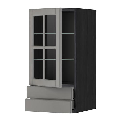 МЕТОД / МАКСИМЕРА Навесной шкаф/стекл дверца/2 ящика - 40x80 см, Будбин серый, под дерево черный