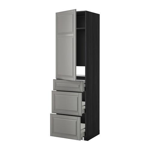 МЕТОД / МАКСИМЕРА Выс шкаф д/холодильн, с дврц/3 ящ - Будбин серый, под дерево черный
