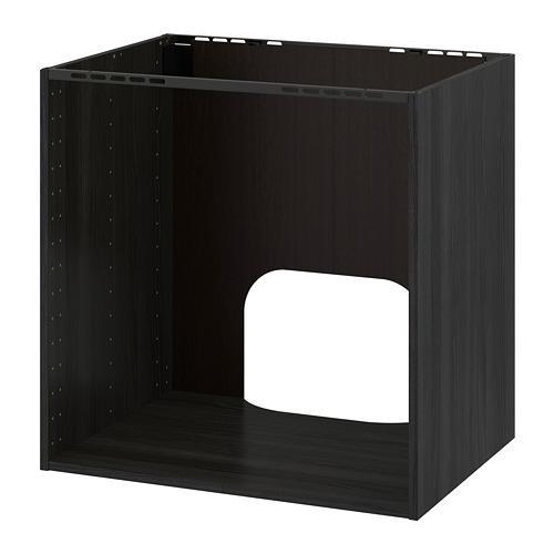 МЕТОД Напольный шкаф д/встр духовки/мойки - под дерево черный, 80x60x80 см