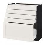 МЕТОД / МАКСИМЕРА Напольный шкаф с 5 ящиками - 80x37 см, Сэведаль белый, под дерево черный