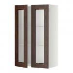 МЕТОД Навесной шкаф с полками/2 стекл дв - 60x100 см, Эдсерум под дерево коричневый, белый