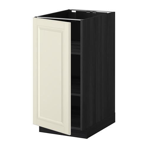 МЕТОД Напольный шкаф с полками - 40x60 см, Будбин белый с оттенком, под дерево черный