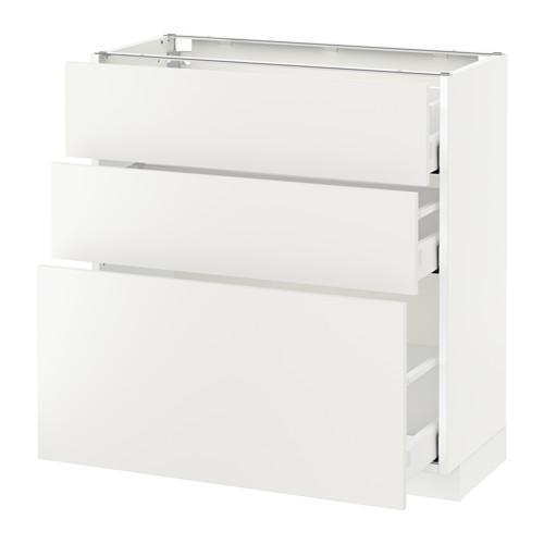 МЕТОД / МАКСИМЕРА Напольный шкаф с 3 ящиками - 80x37 см, Хэггеби белый, белый