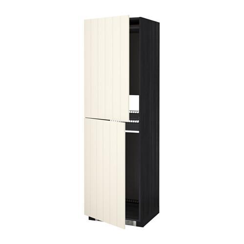 МЕТОД Высок шкаф д холодильн/мороз - 60x60x200 см, Хитарп белый с оттенком, под дерево черный