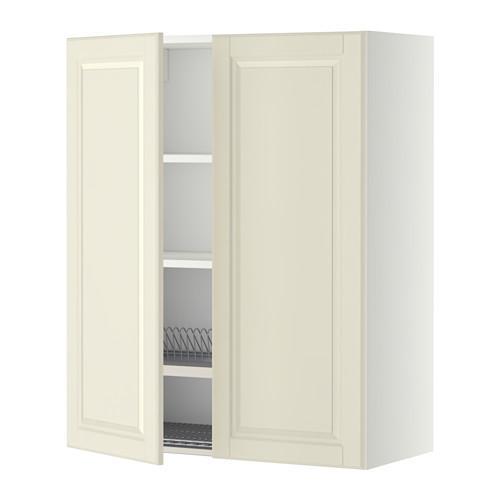 МЕТОД Навесной шкаф с посуд суш/2 дврц - 80x100 см, Будбин белый с оттенком, белый