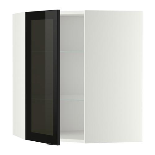 МЕТОД Углов навесн шк с полками/сткл дв - 68x80 см, Ютис дымчатое стекло/черный, белый