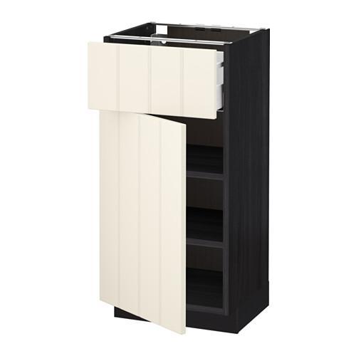 МЕТОД / МАКСИМЕРА Напольный шкаф с ящиком/дверью - 40x37 см, Хитарп белый с оттенком, под дерево черный
