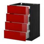 МЕТОД / ФОРВАРА Напольн шкаф 4 фронт панели/4 ящика - 60x60 см, Рингульт глянцевый красный, под дерево черный
