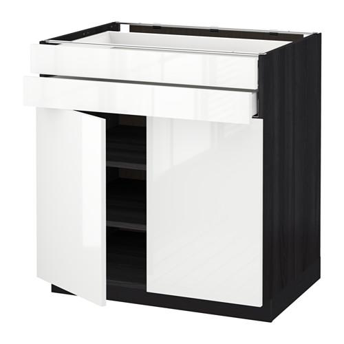 МЕТОД / МАКСИМЕРА Напольный шкаф/2дверцы/2ящика - 80x60 см, Рингульт глянцевый белый, под дерево черный