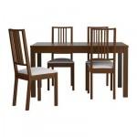 БЬЮРСТА/БЁРЬЕ Стол и 4 стула - , коричневый/Гобо белый, 140 см