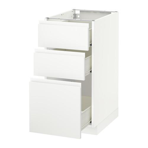 MÉTODO / mueble con cajones FORVARA Base 3 - blanco, blanco Vokstorp, 40x60 cm