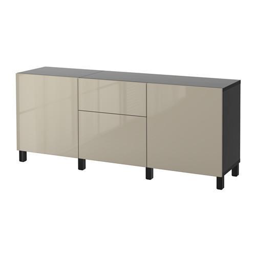 besto kombination f r die aufbewahrung mit schubladen schwarz braun selsviken gl nzend. Black Bedroom Furniture Sets. Home Design Ideas
